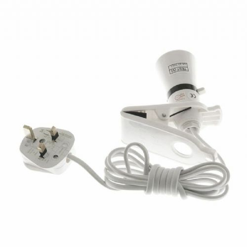 Clip on Light 2metre Cable Switched Lampholder 13amp plug fitted